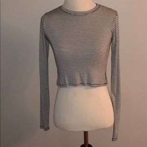 long sleeve striped american eagle crop top